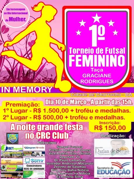 Torneio de Futsal Feminino de Chorrochó homenageará dia Internacional da  mulher. d6ac89caea067